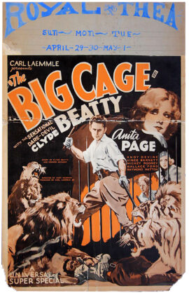 "BIG CAGE, THE (1933)14 x 22"" (35 x 55) window card poster, USA. Clyde Beatty, Anita Page, Andy Devine, Vince Barnett, Raymond Hatton, Wallace Ford, Mickey Rooney, dir: Kurt Neumann; Universal Pictures."