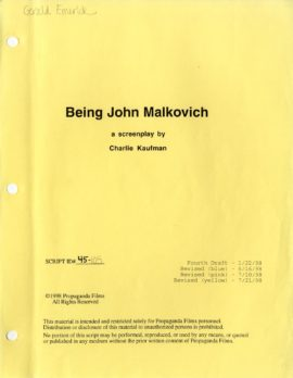 BEING JOHN MALKOVICH (1999) Fourth draft script by Charlie Kaufman, 1/22/98