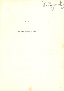 BIG (1987) Pair of two different drafts of vintage original film scripts.