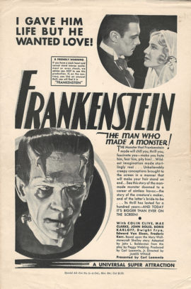 FRANKENSTEIN ORIGINAL TEAR SHEET (1931)