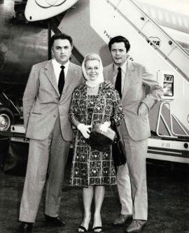 FEDERICO FELLINI, GIULETTA MASINA, MARCELLO MASTROIANNI (ca. early-1960s)