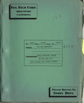 (AFRICAN AMERICAN FILM) IN OLD KENTUCKY (1935) Vintage original film script.