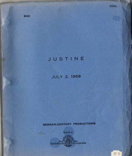 (DURRELL, LAWRENCE, SOURCE) JUSTINE (1968) Vintage original script.