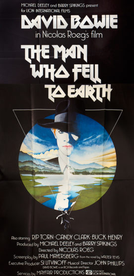 DAVID BOWIE IN THE MAN WHO FELL TO EARTH Three Sheet (1976)