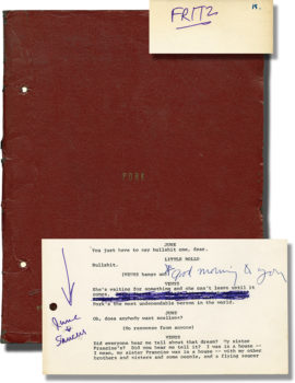 """WARHOL, ANDY PORK (Vintage original script for the 1971 play, Fred """"Fritzy"""" Hughes' working copy,)annotated by Hughes and Warhol) New York: N.p., circa 1971.)"""