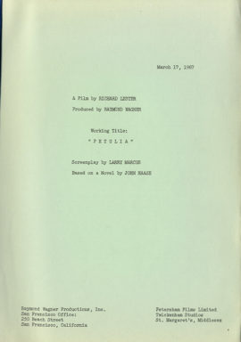 (LESTER, RICHARD, DIRECTOR) PETULIA Screenplay by Larry Marcus Based on a Novel by John Haase March 27, 1967