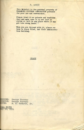 (STEVENS, GEORGE, DIRECTOR) SHANE FINAL WHITE (1951) Vintage original film script by A.B. Guthrie, Jr.