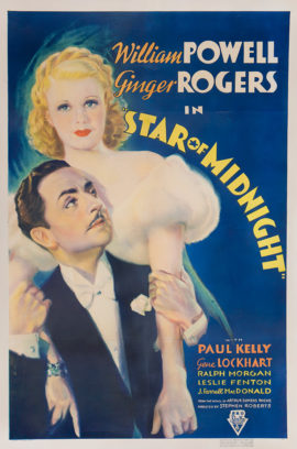 STAR OF MIDNIGHT/GINGER ROGERS, WILLIAM POWELL ONE SHEET (1935)