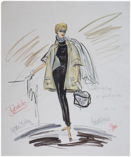 TO CATCH A THIEF Grace Kelly Costume Sketch by Edith Head (1955)