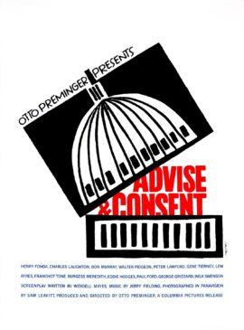 SAUL BASS SILKSCREEN / ADVISE AND CONSENT (1962)