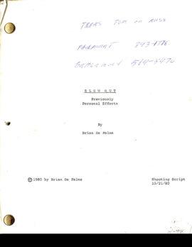 BLOW OUT (1981) shooting script