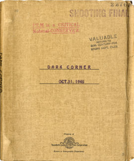 THE DARK CORNER (1946) shooting final script dated Oct. 31, 1946