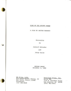 KISS OF THE SPIDER WOMAN (1985) second draft film script adapted from Manuel Puig, dated Dec. 1, 1982