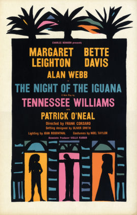 "Tennessee Williams' THE NIGHT OF THE IGUANA window card 22 x 14"" poster for stage production, ft. Bette Davis, Margaret Leighton, dir. by Frank Corsaro."