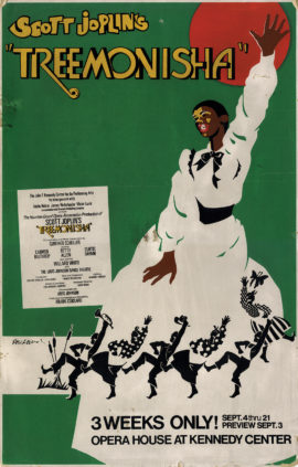 "Treemonisha (1975) window card poster (22 x 14"") for Washington, D.C. tryout of a Houston Grand Opera production of Scott Joplin's African American opera."