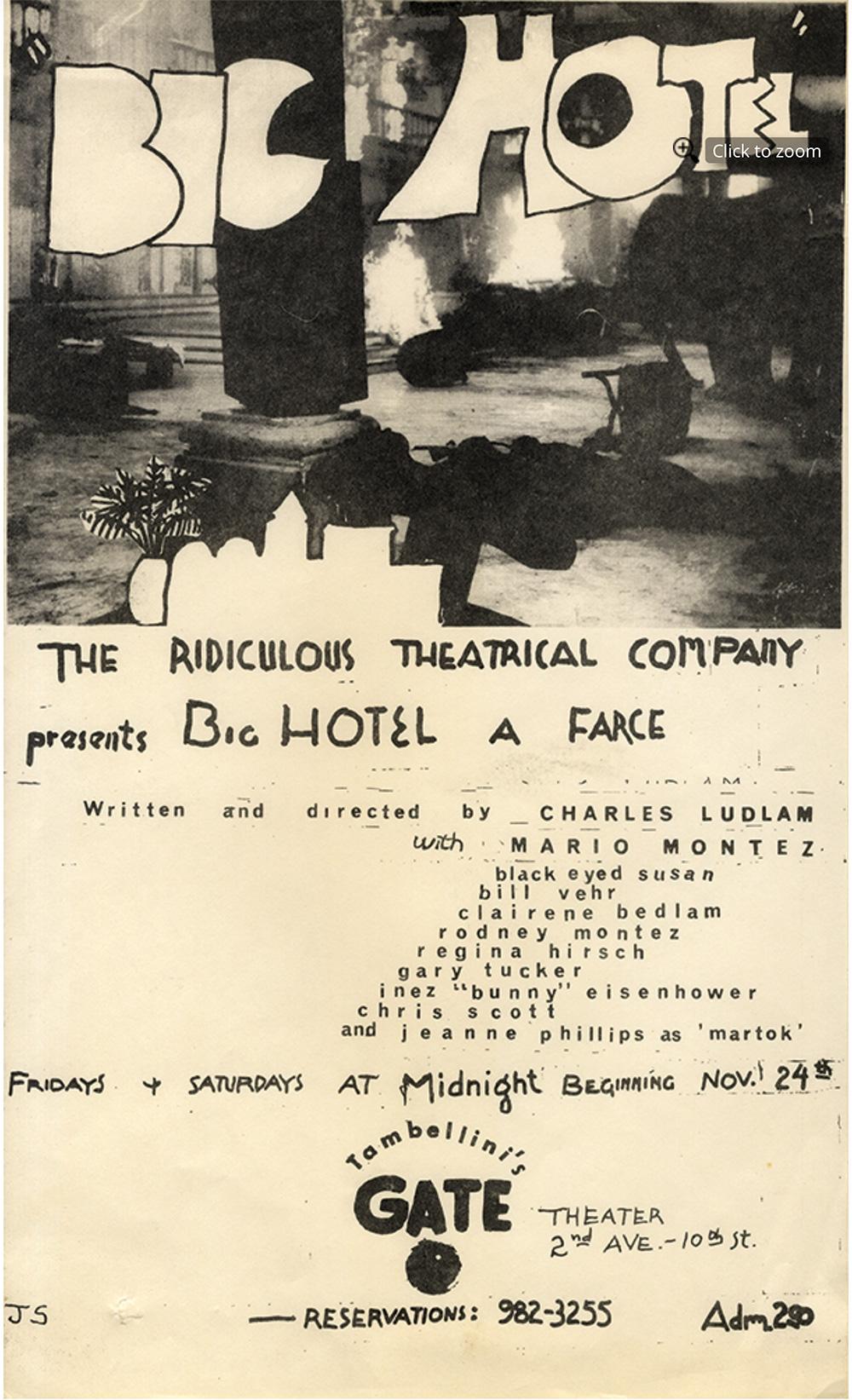 Big Hotel a play by Charles Ludlam (1968)