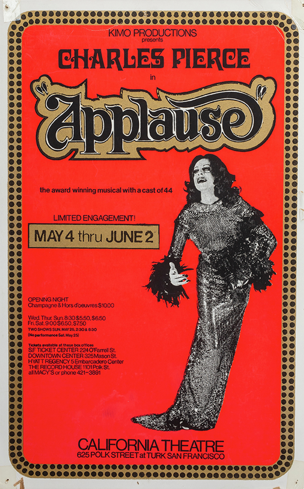 Charles Pierce in Applause in San Francisco at the California Hall in 1974