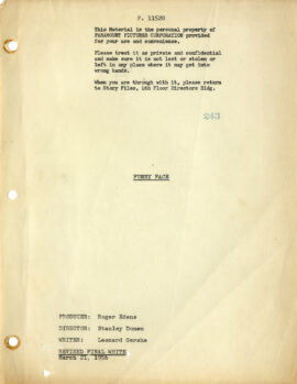 FUNNY FACE (1957) Revised FInal Draft screenplay dated Mar 21, 1956