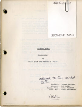 COMING HOME (1978) Final Draft screenplay by Waldo Salt & Robert C. Jones, Feb 1978