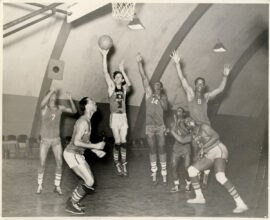 CHARLIE MINGUS on the basketball court (ca. 1944)