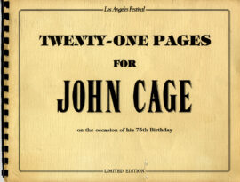 TWENTY-ONE PAGES FOR JOHN CAGE (1987) Program