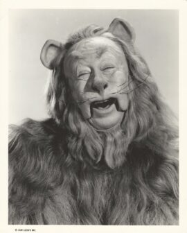 WIZARD OF OZ, THE (1939) Laughing portrait of Bert Lahr as the Cowardly Lion