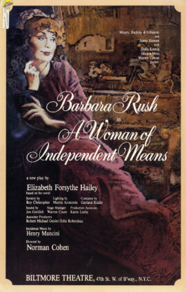 Elizabeth Forsythe Hailey's A WOMAN OF INDEPENDENT MEANS (1984) Theatre poster