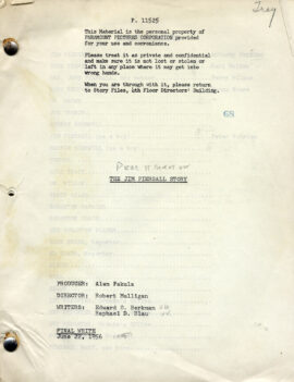 FEAR STRIKES OUT [under working title: THE JIM PIERSALL STORY] (Jun 22, 1956) Final White script by Berkman and Blau