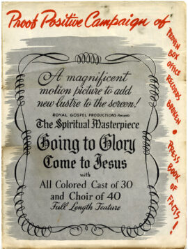 GOING TO GLORY, COME TO JESUS (1947) Pressbook