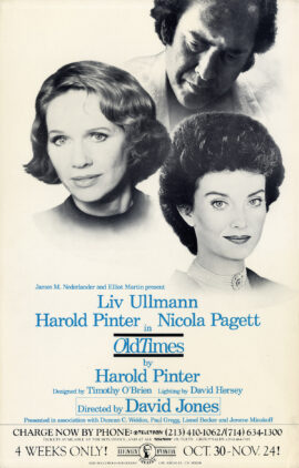 HAROLD PINTER / OLD TIMES (1985) Theatre poster