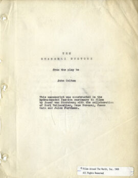 SHANGHAI GESTURE, THE (1941) Film script adapted from the play by John Colton