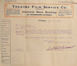 Collection of eleven (11) typed signed letters from film distributors to a small-town movie theater (1909-16)