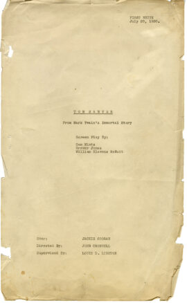 TOM SAWYER (Jul 20, 1930) First white script adapted from Mark Twain