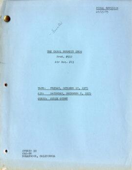 CAROL BURNETT SHOW, THE (1975) FInal revision TV script / Eydie Gorme (guest star)