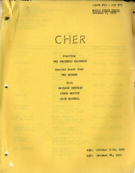 CHER (Oct 2, 1975) First Draft TV script / Smothers Brothers (guest)