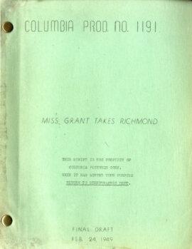 MISS GRANT TAKES RICHMOND (Feb 24, 1949) Final draft screenplay by Frank Tashlin, Nat Perrin