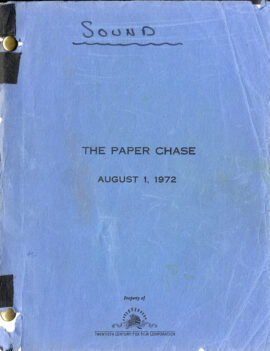 PAPER CHASE, THE (Aug 1, 1972) Screenplay by James Bridges