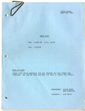 REDD FOXX (Dec 23, 1977) First draft TV script