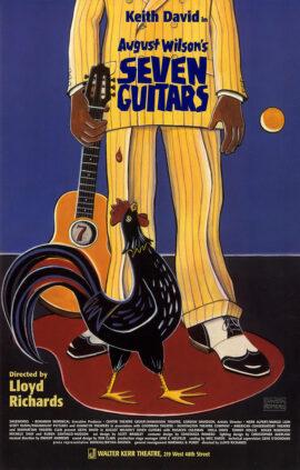 SEVEN GUITARS (1996) Window card poster