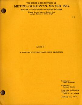 SHAFT (Jan 13, 1971) Film script by Ernest Tidyman, John D. F. Black
