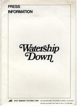 WATERSHIP DOWN (1978) Press kit